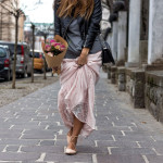 Entering the spring in maxi skirt&leather jacket